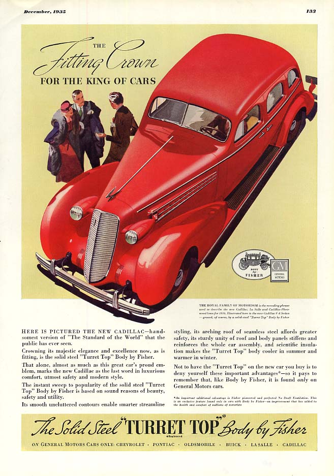 The Fitting Crown for the King of Cars Body by Fisher - Cadillac ad 1936 Esq
