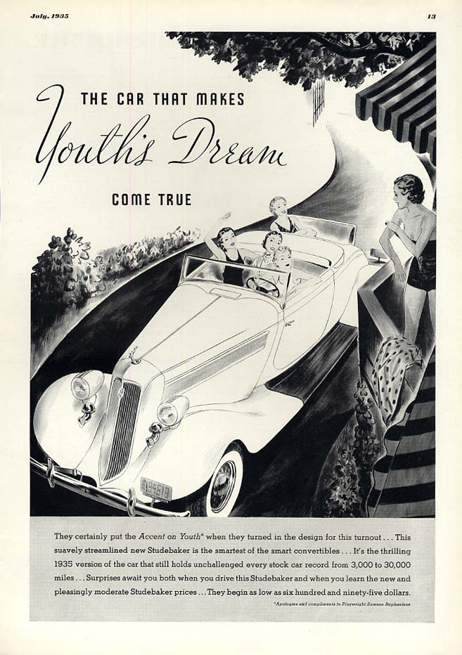 Makes Youth's Dream Come True Studebaker Rumbleseat Convertible ad 1935 E