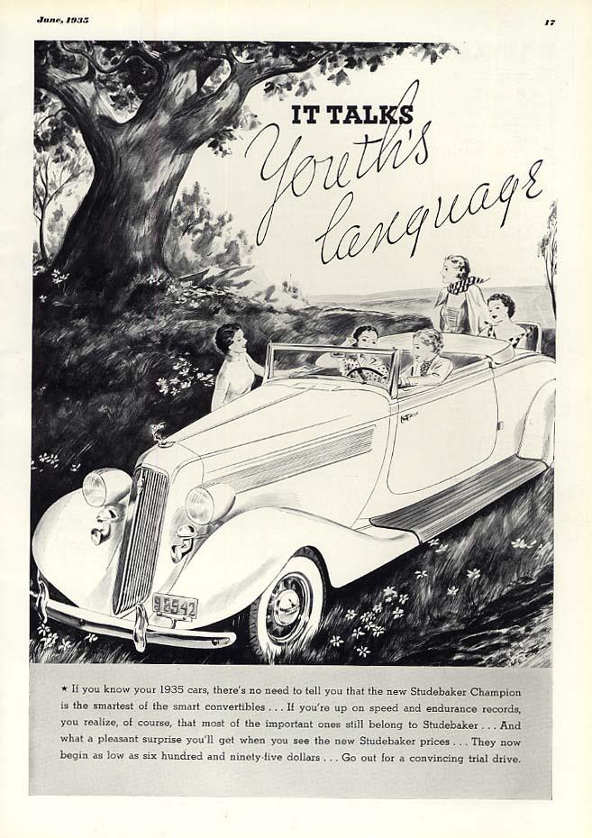 It talks Youth's Language - Studebaker Rumbleseat Convertible ad 1935 Esq