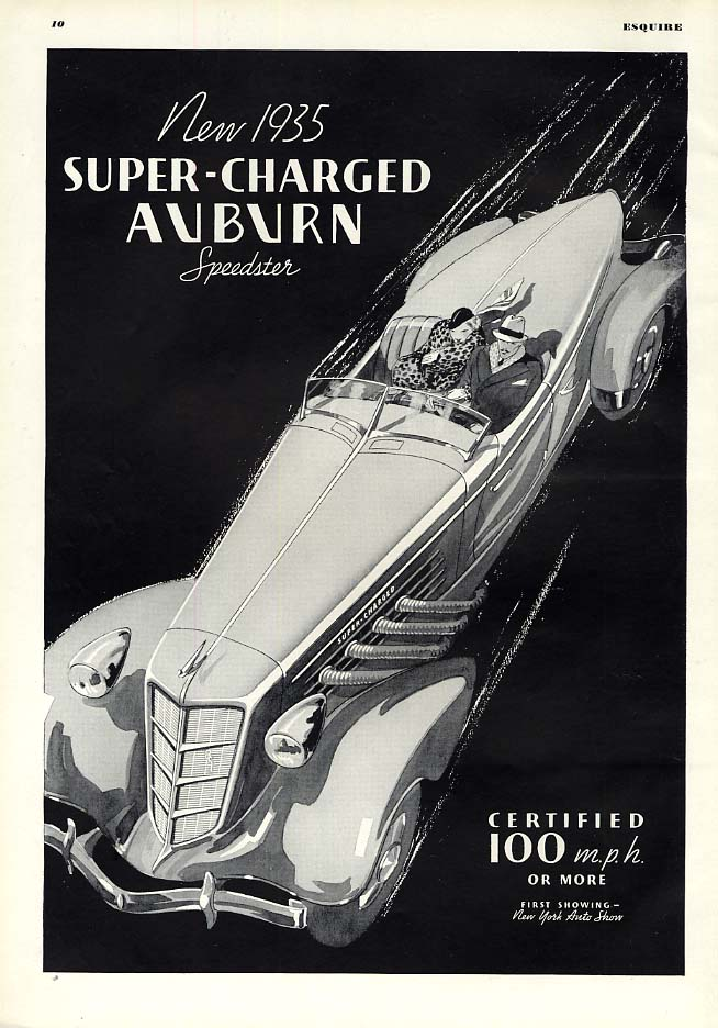 100 miles per hour (or more) certified Auburn Speedster ad 1935 Esq