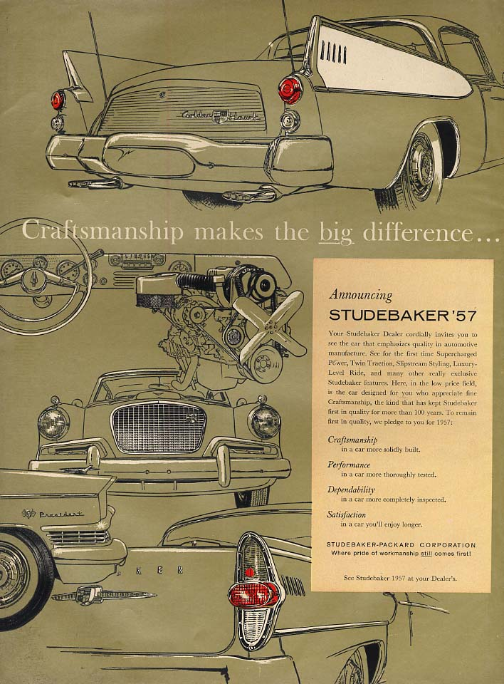 Craftsmanship makes the big difference Studebaker Golden Hawk ad 1957 L