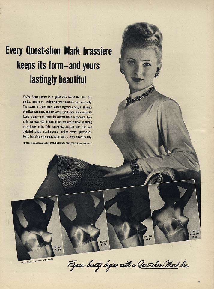 Every Quest-shon Mark brassiere keeps it form - bra ad 1947 L