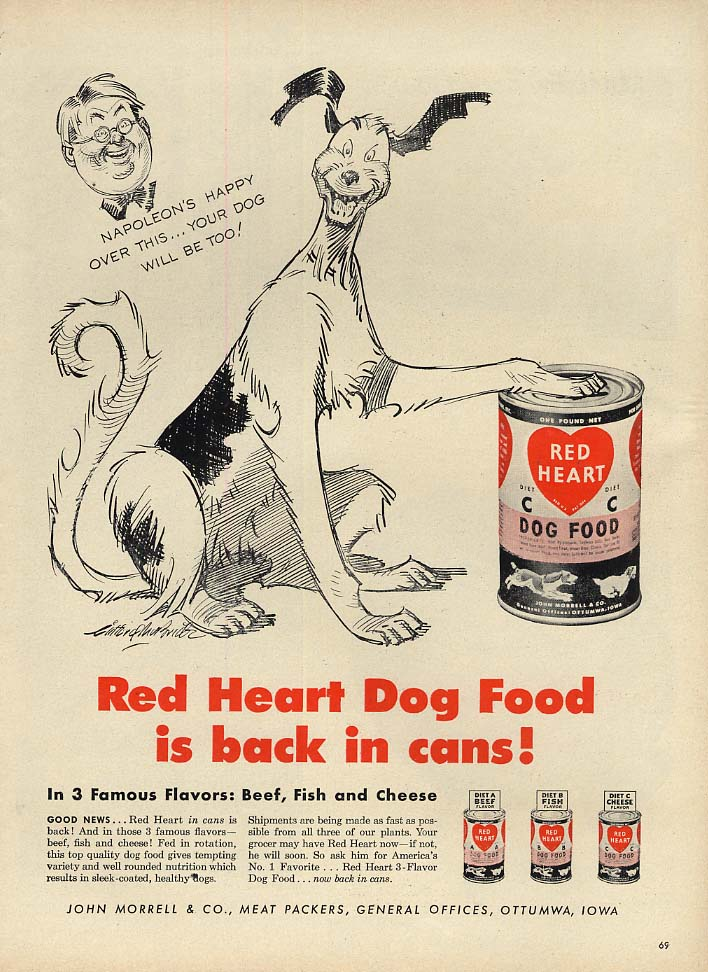 Clifford McBride's Napoleon comic strip dog for Red Heart Dog Food ad 1947 L