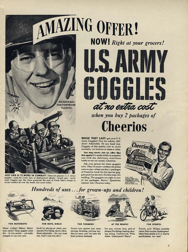 US Army Goggles free with 20 packages of Cheerios ad 1947 L