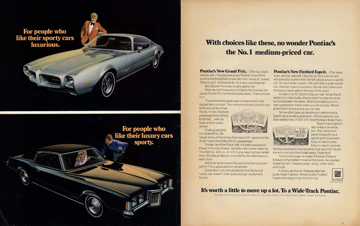 No wonder Pontiac's the No 1 medium-priced car ad 1970 Firebird Grand Prix L