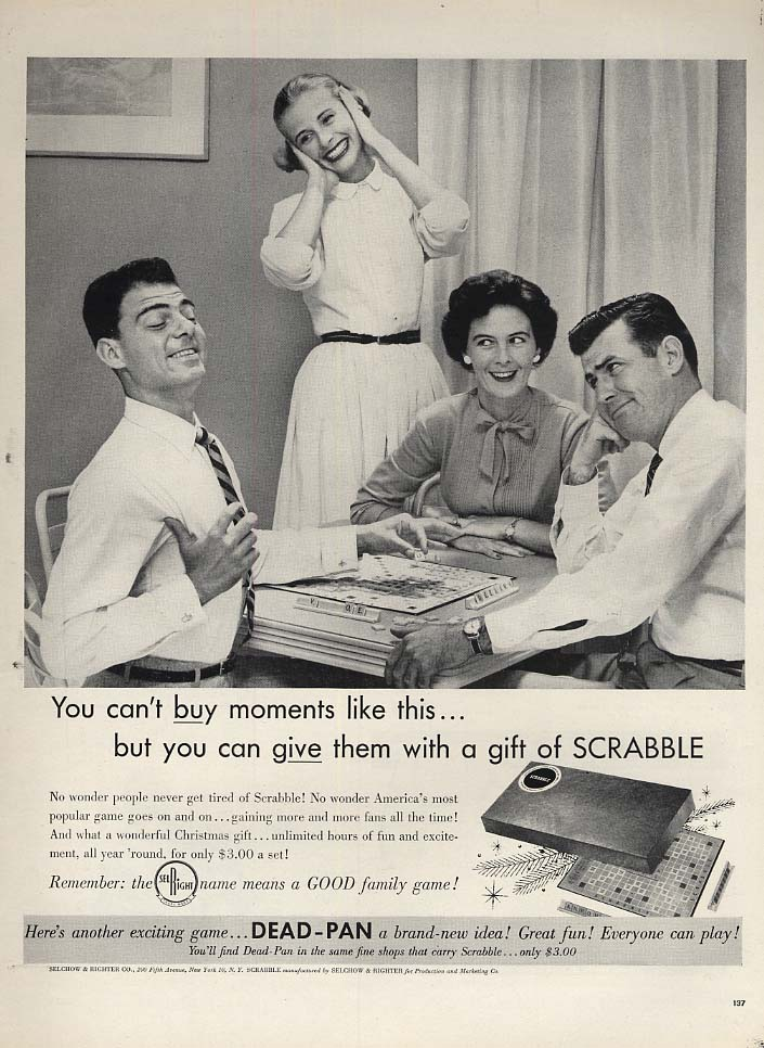 You can't buy moments like this - Scrabble board game ad 1956 L