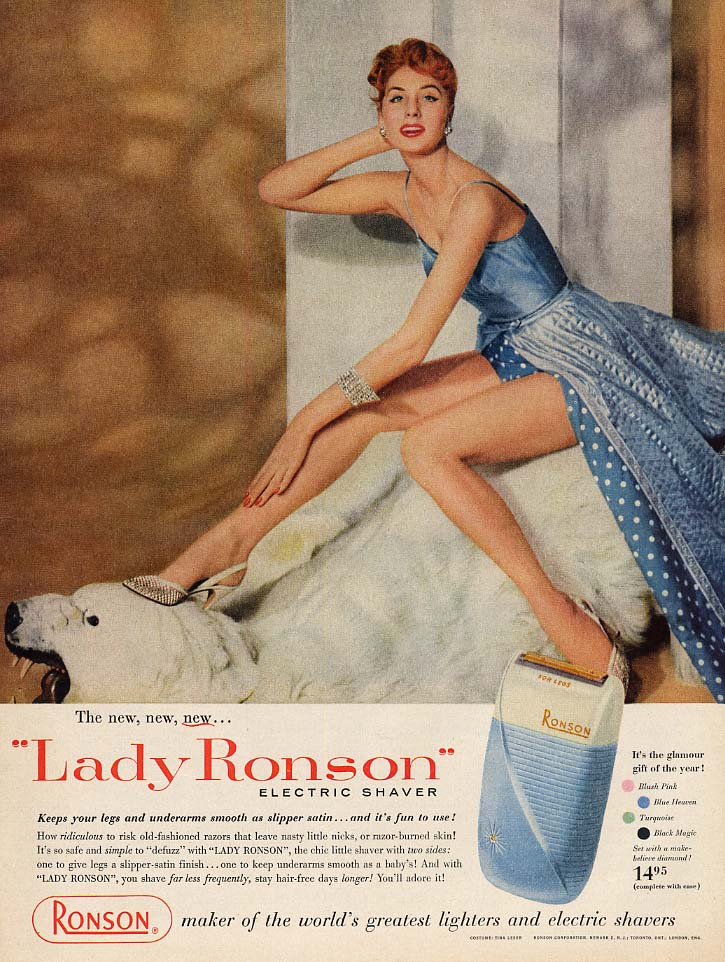 New Lady Ronson Electric Shaver ad 1956 Suza Parker L