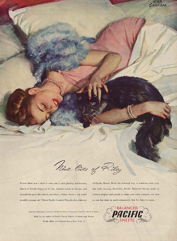 Image for Nine lives of Riley - Pacific Sheets ad 1947 Gannam girl with black cat L