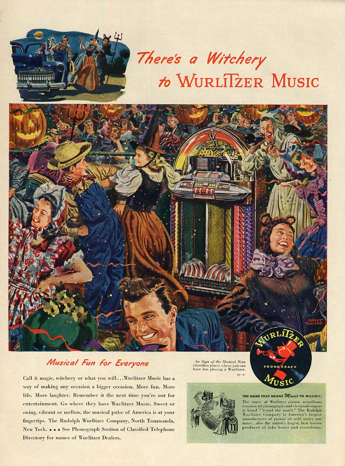 There's a Witchery at Wurlitzer Jukebox Music ad 1947 Halloween party L