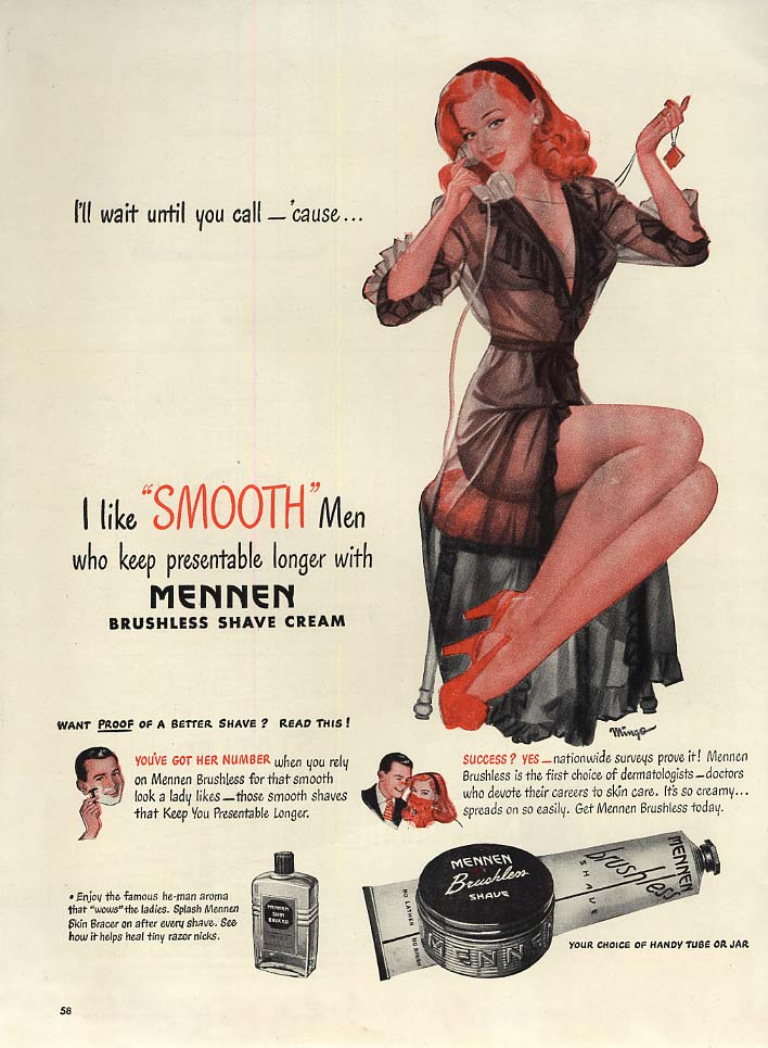 I'll wait until you call cause I like smooth men Mennen ad 1947 Mingo pin-up