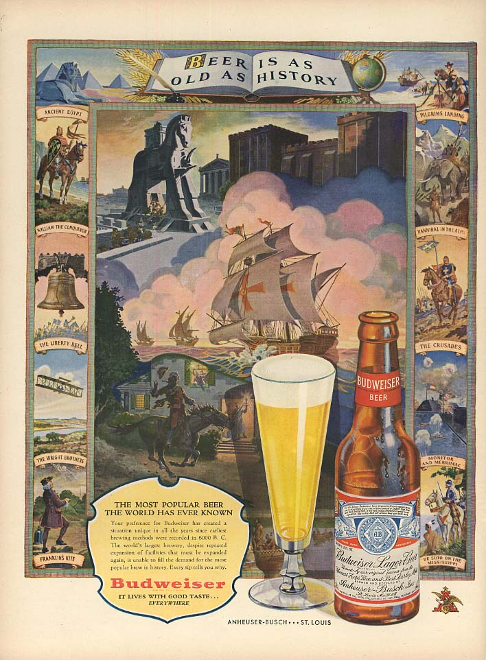 Beer is as old as history - Budweiser Lager Beer ad 1947 L
