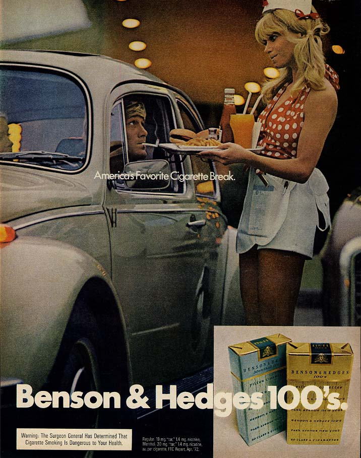 Benson & Hedges cigarette ad 1972 Volkswagen drive-in restaurant blonde waitress