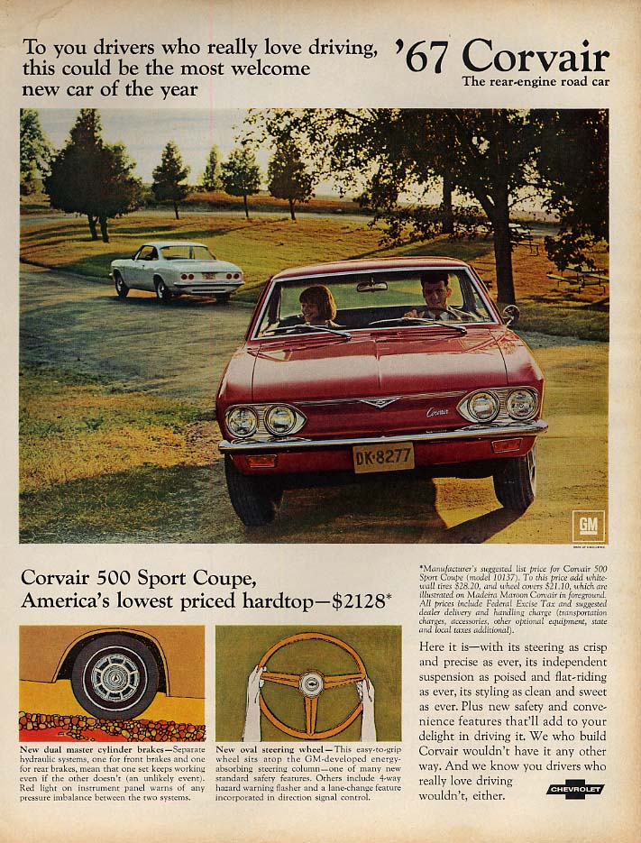 To drivers who really like driving Corvair 500 ad 1967 L