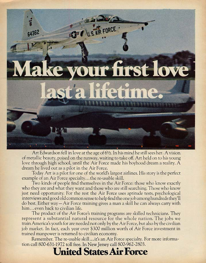Make your first love last a lifetime US Air Force T-38 trainer ad 1972 L