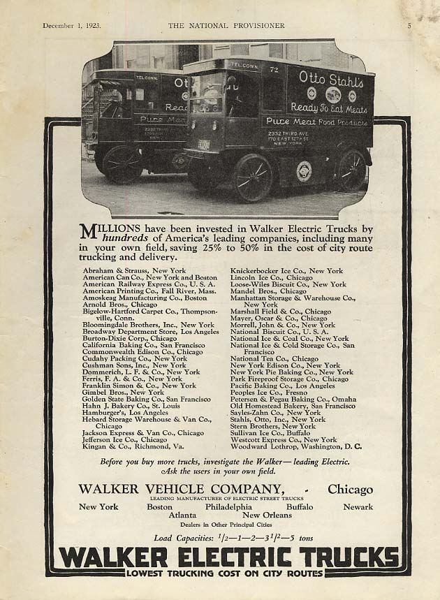 Otto Stahl's Ready to Eat Meats - Walker Electric Trucks ad 1923