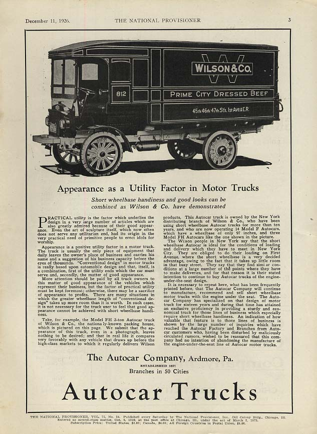 Wilson & Co Prime City Dressed Beef - Autocar Truck ad 1923
