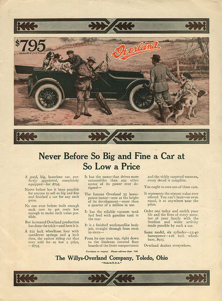 Never Before So Big & Fine a Car Willys Overland ad 1916 hunting dogs