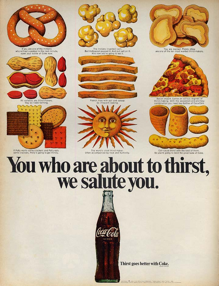 You who are about to thirst we salute you Coca-Cola ad 1969 L