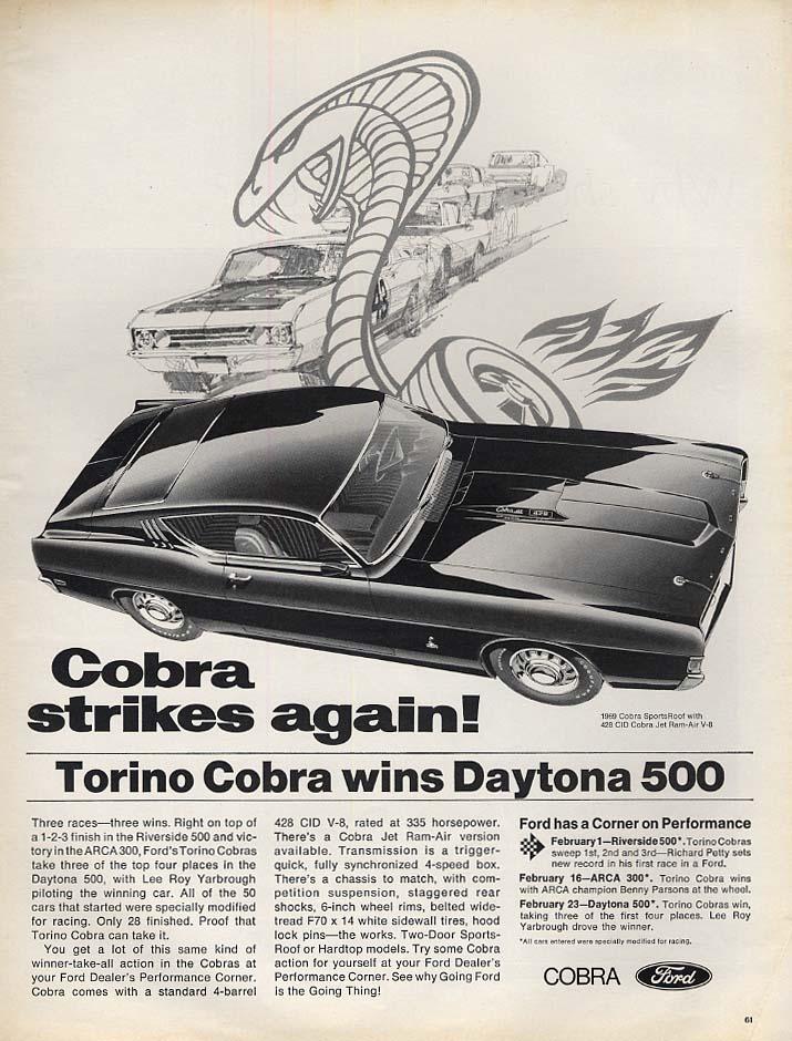 Cobra Strikes Again! Ford Torino Cobra wins Daytona 500 ad 1969 L