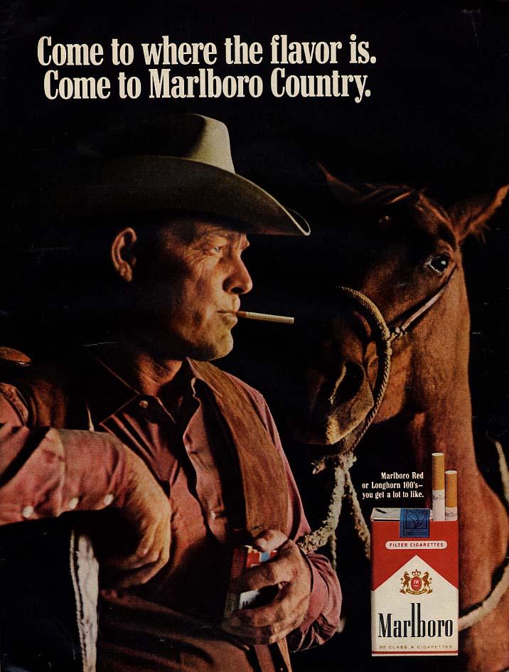 Come to where the flavor is Come to Marlboro Country cigarette ad 1969 L