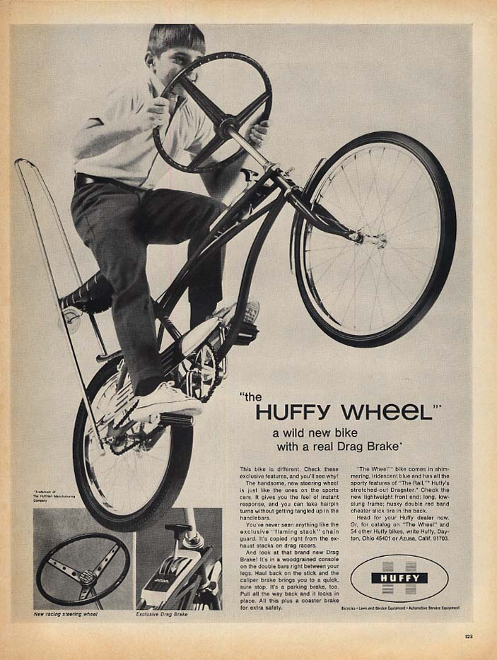 A wild new bike with a real Drag Brake: Huffy Wheel bicycle ad 1969 L