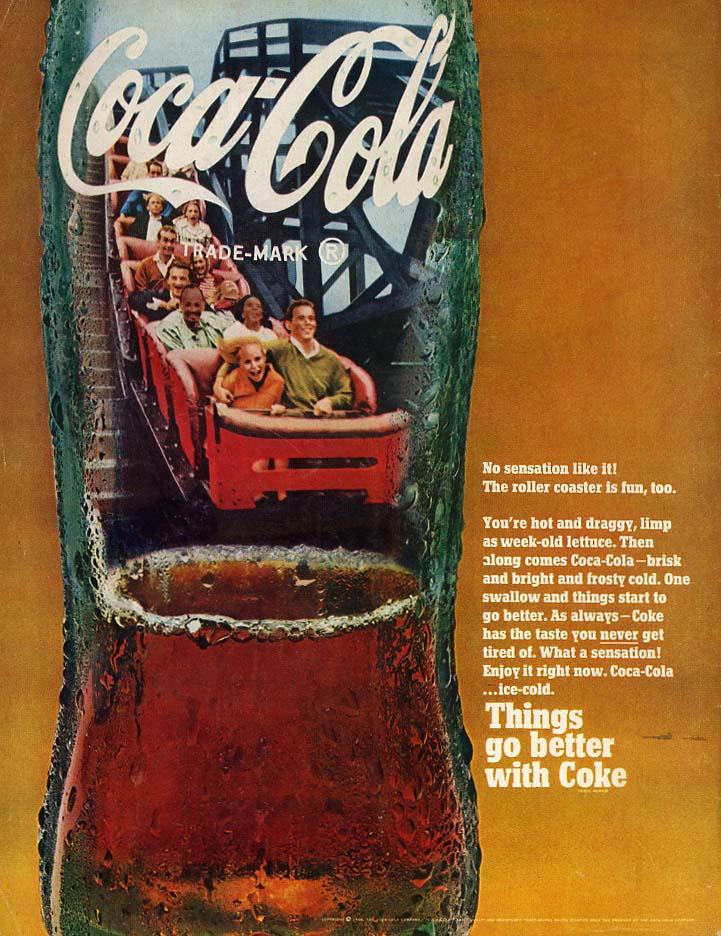 No sensation like it - The roller coaster is fun too Coca-Cola ad 1968 L