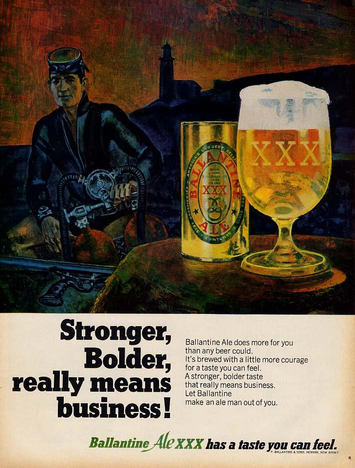 Stronger Bolder taste means business Ballantine Ale XXX ad 1968 L SCUBA