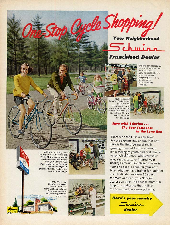 One-Stop Bicycle Shopping! Schwinn ad 1969 L