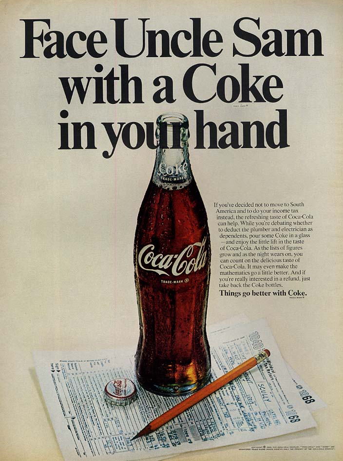 Face Uncle Sam with a Coca-Cola in your hand ad 1969 L