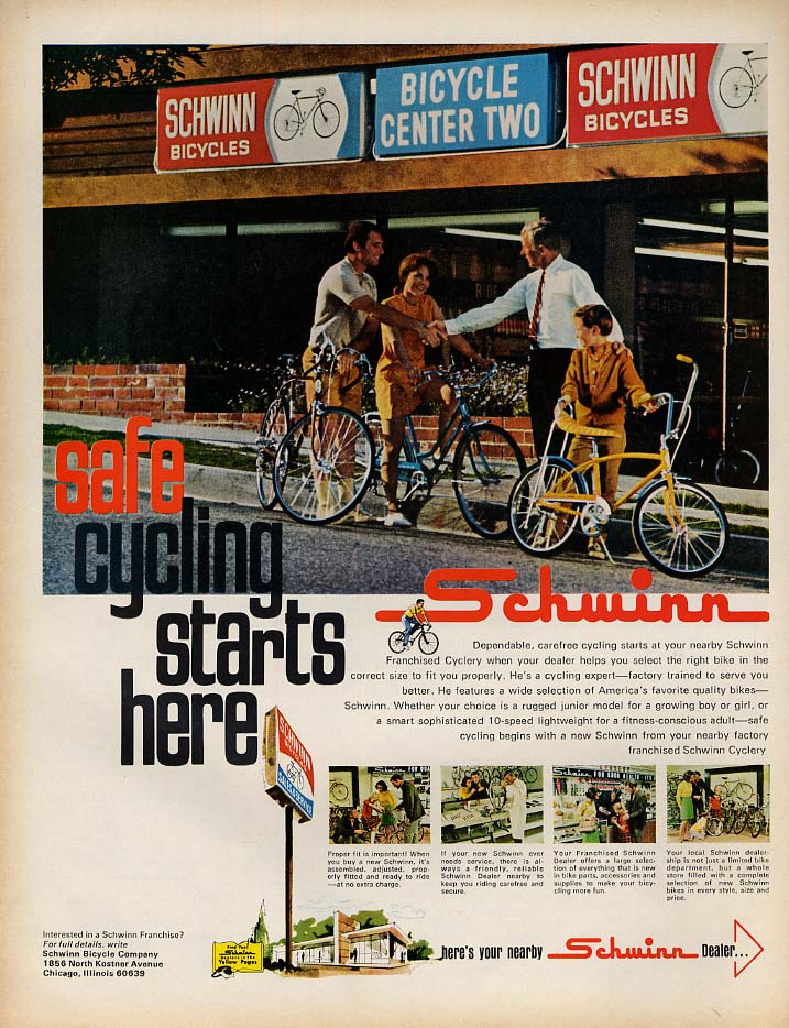 Safe Cycling Starts Here - Schwinn Bicycle ad 1969 L