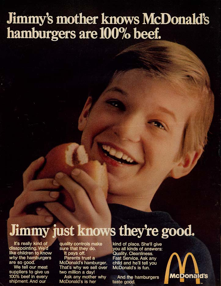 Jimmy's mother knows McDonald's hamburgers are 100% beef ad 1969 L