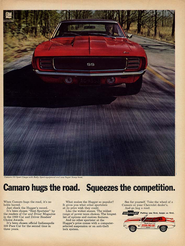 Camaro hugs the road Squeezes the competition ad 1969 L Indy 500 Pace Car L