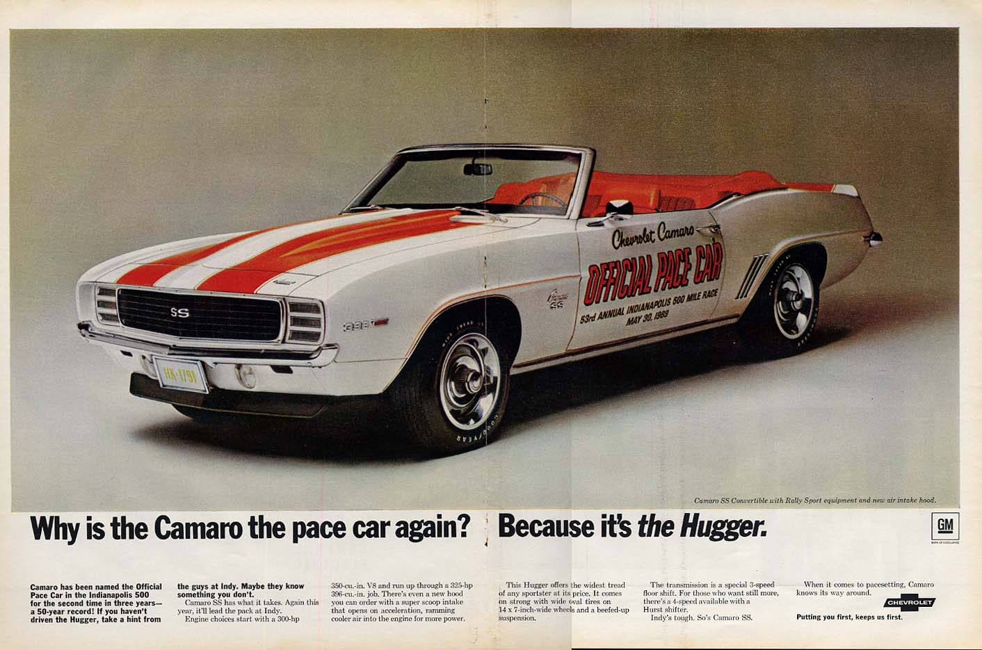 Why is the Camaro the Indy 500 Pace Car again Because it's the Hugger ad 1969 L