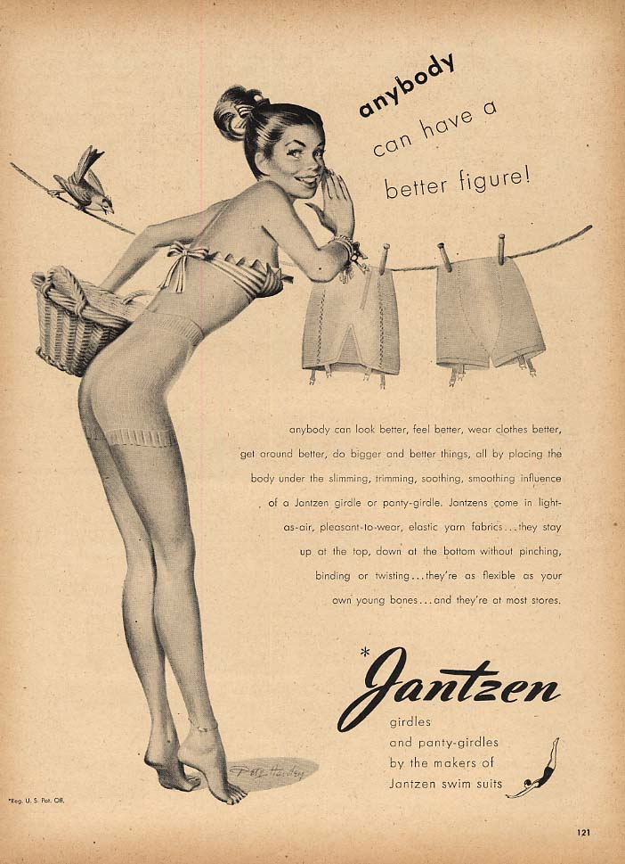 Anybody can have a better figure Jantzen Girdles ad 1947 Pete Hawley pin-up