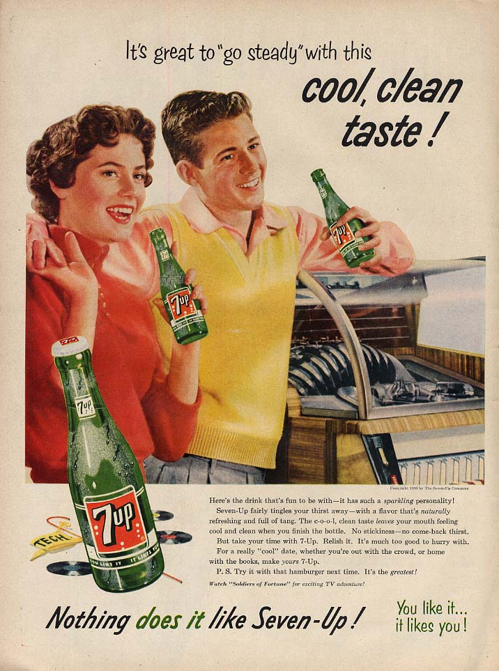Go steady with this cool clean taste 7-Up Soda ad 1956 jukebox teens