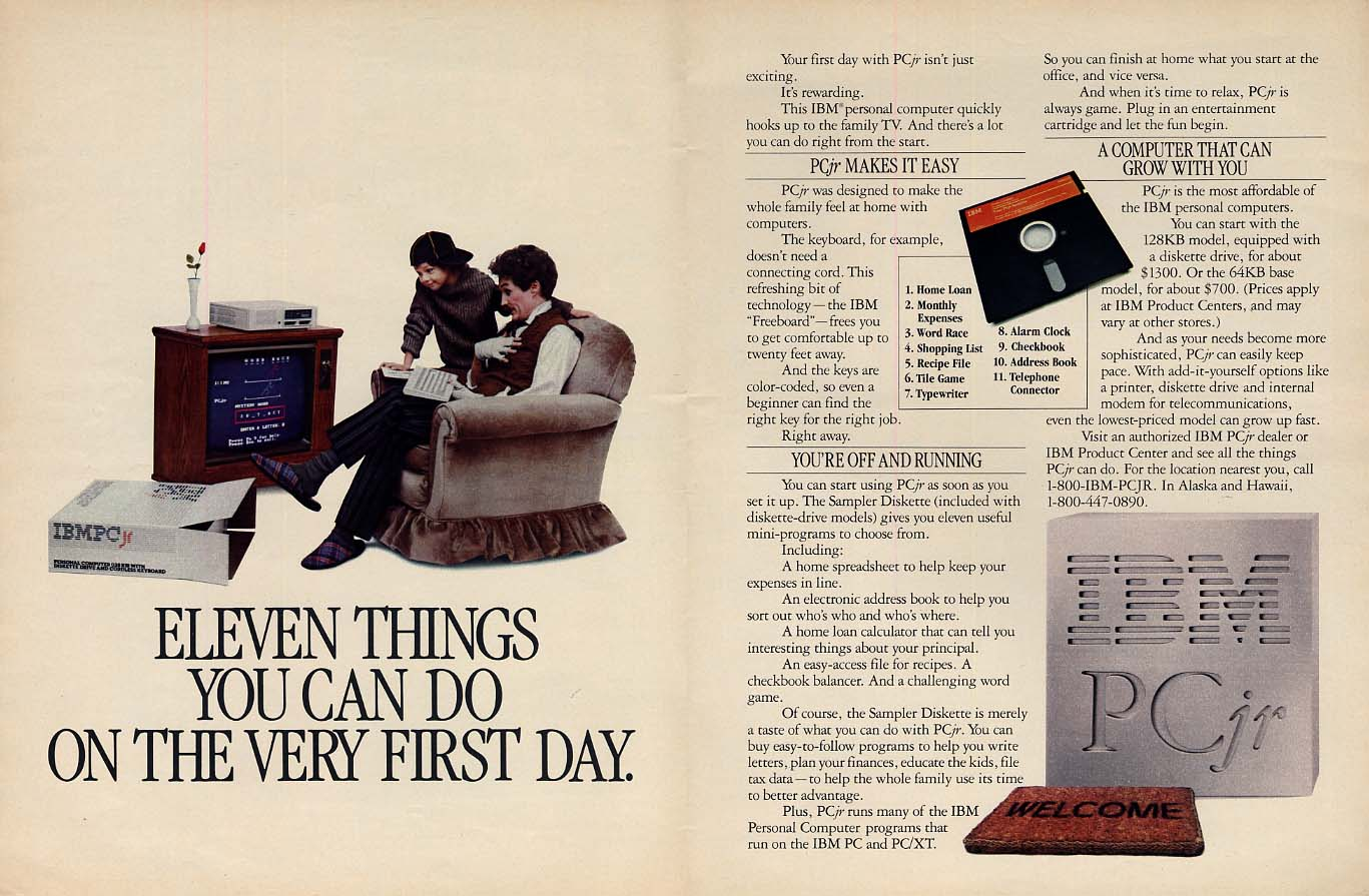 Eleven things you can do on the very first day IBM PCjr home computer ad 1984 L