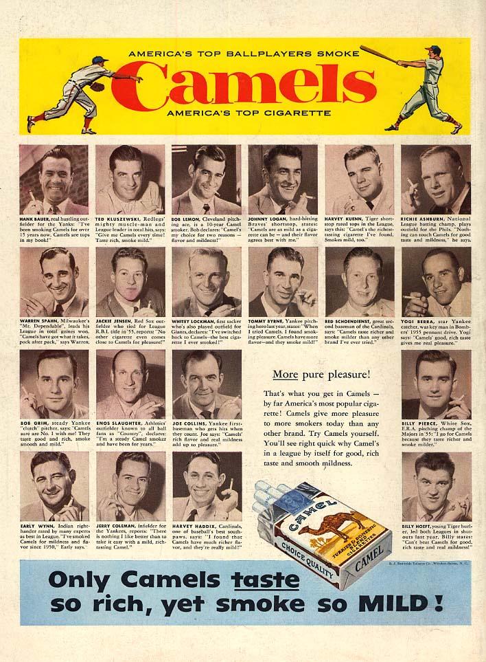 Spahn Yogi Wynn Haddix Kuenn Ashburn Bauer + for Camel Cigarettes ad 1956 L