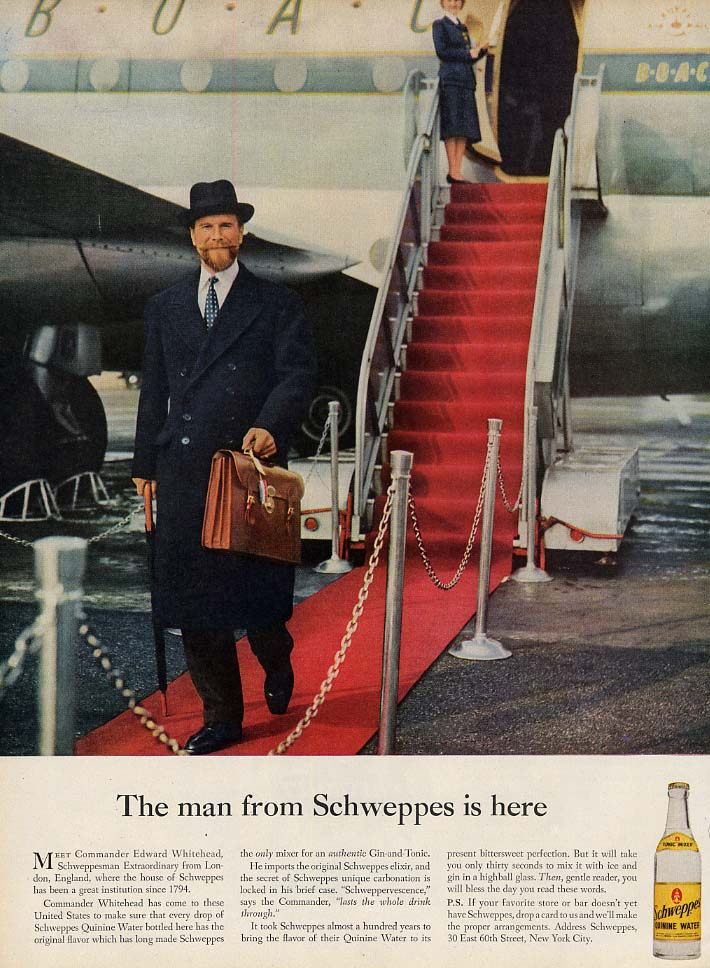 The man from Schweppes is here ad 1956 Commander Whitehead L