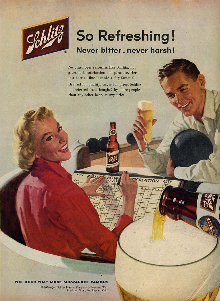 So refreshing! Schlitz beer ad 1956 tenpin bowling couple Sundblom illus L