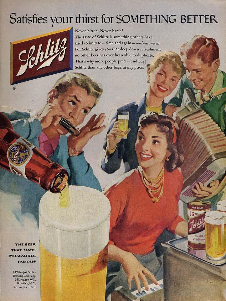 Satisfies your thirst Schlitz Beer ad 1956 accordion harmonica Sundblom illus L
