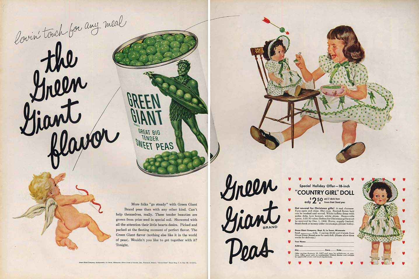 Green Giant Peas Country Girl Doll offer advertisement 1956 L