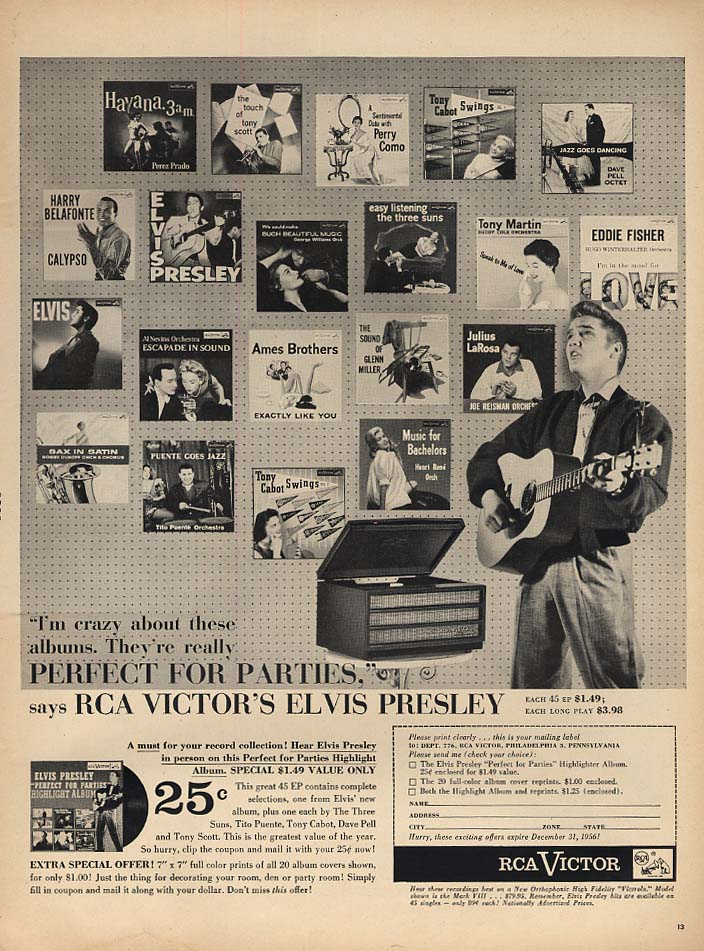I'm crazy about these albums Elvis Presley for RCA Victor Records ad 1856 L
