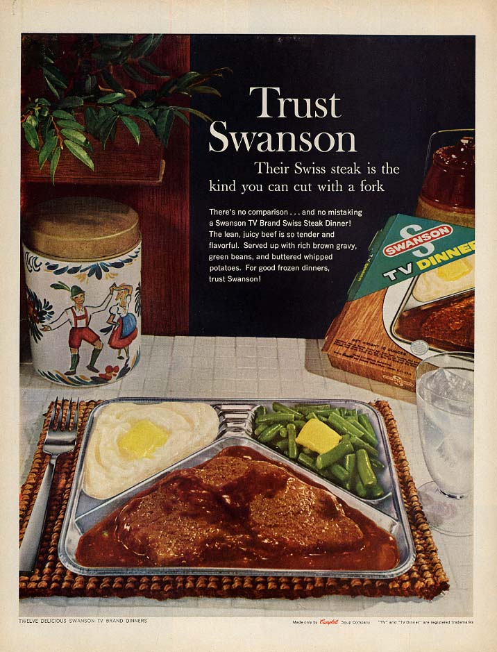 Swiss steak is the kind you can cut with a fork Swanson TV Dinner ad 1961 L