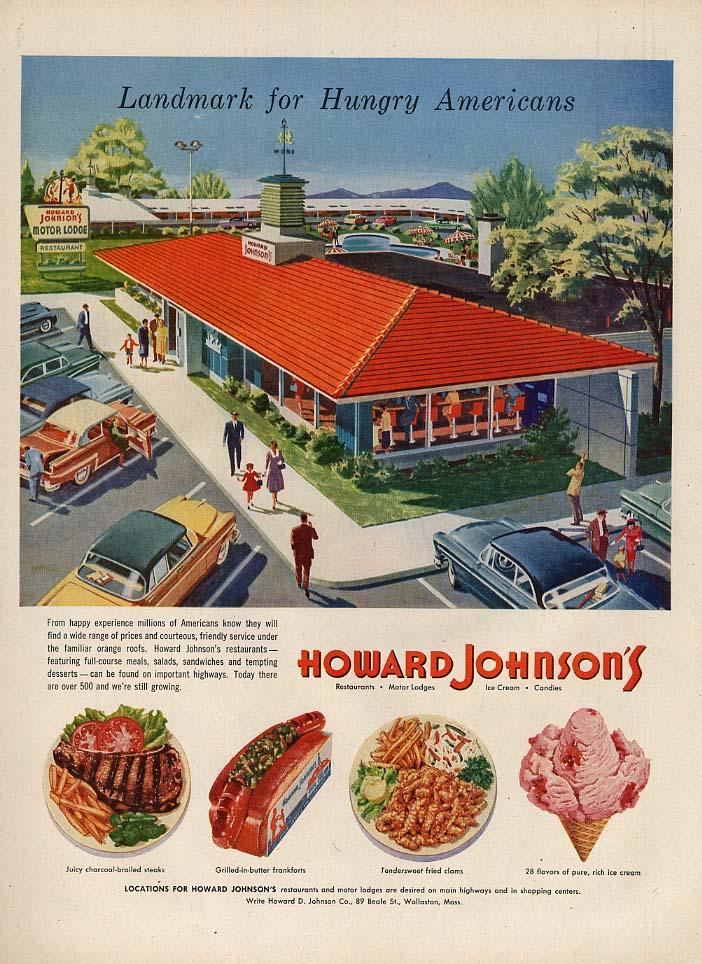 Landmark for Hungry Americans Howard Johnson's Restaurant ad 1956 L