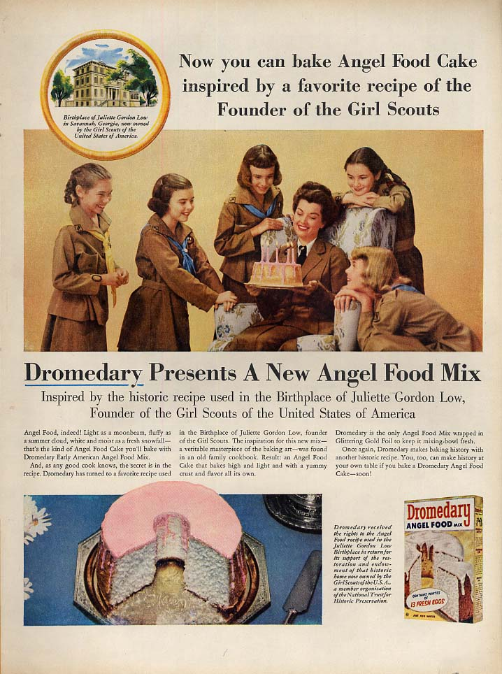 Angel Food Cake recipe of the Founder of Girl Scouts - Dromedary ad 1956 L