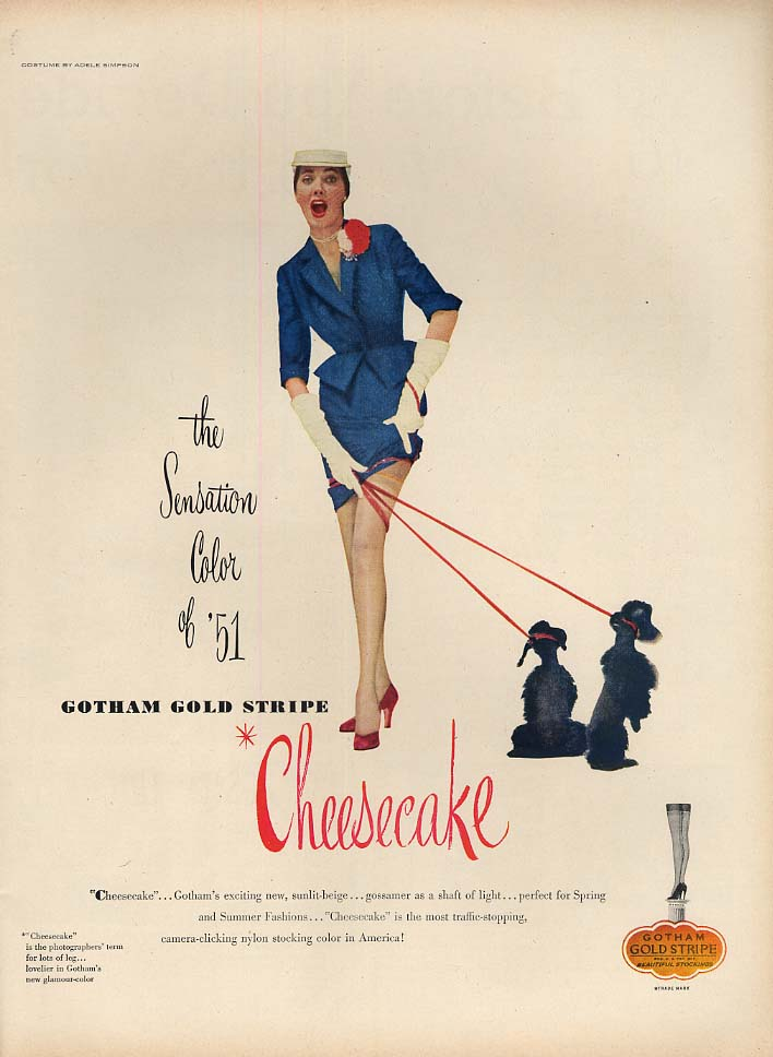 The Sensation Color of '51 Gotham Cheesecake Hosiery ad 1951 L poodles