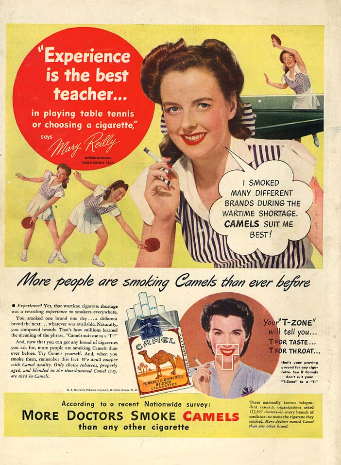 International Table-Tennis Star Mary Reilly for Camel Cigarettes ad 1947 L