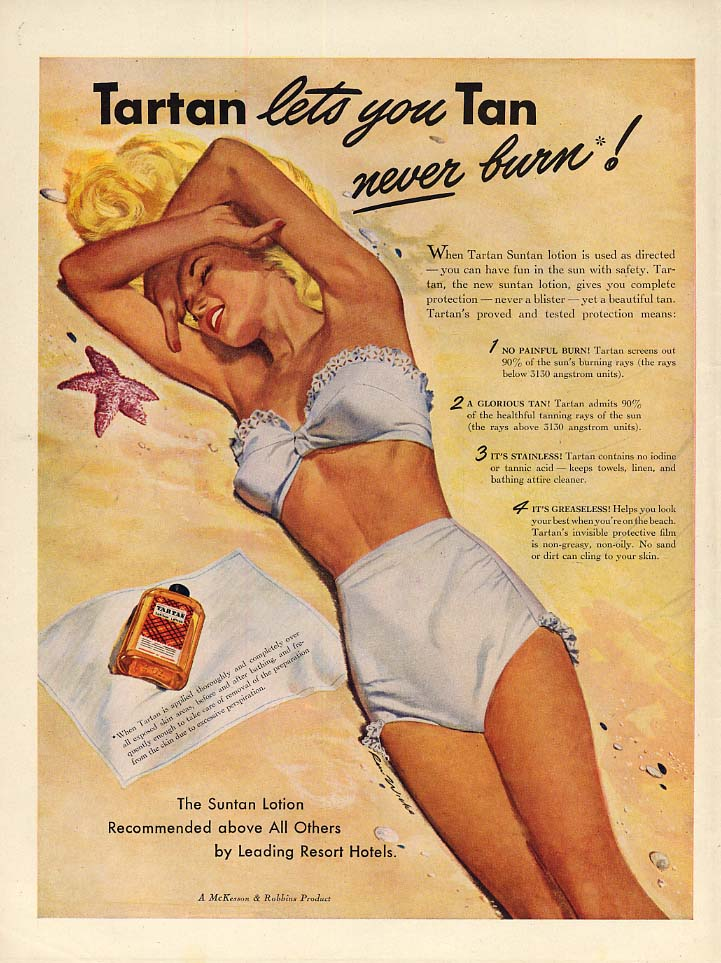 Tartan lets you Tan- never burn! Tartan Suntan Lotion ad 1947 Ren Wicks pin-up L