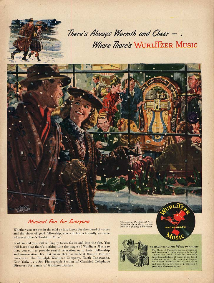 Always Warmth & Cheer where there's Wurlitzer Jukebox Music ad 1947 L