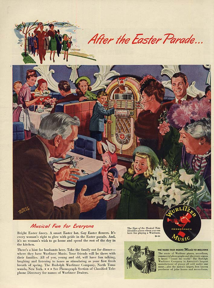 After the Easter Parade - Wurlitzer Jukebox ad 1947 L